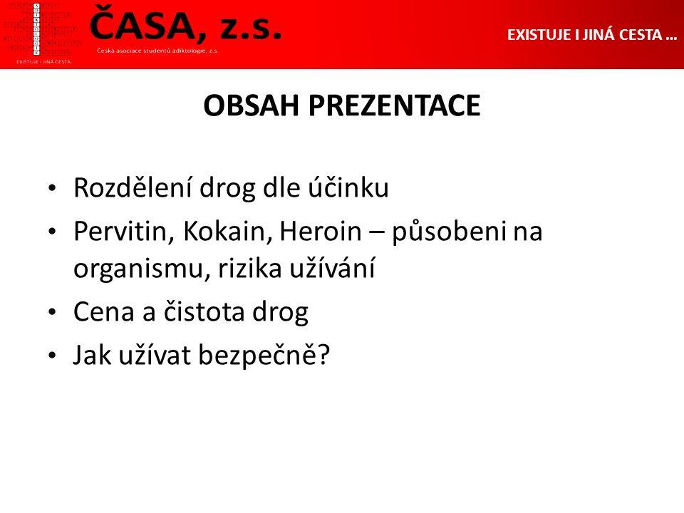 OBSAH PREZENTACE Rozdělení drog dle účinku Pervitin, Kokain, Heroin – působeni na organismu, rizika užívání Cena a čistota drog Jak užívat bezpečně.