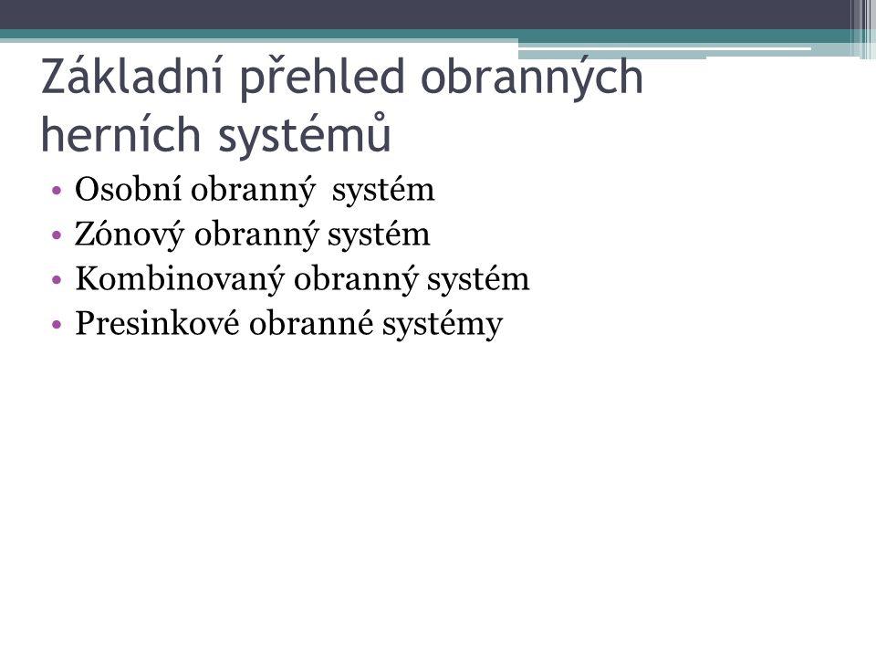 Základní přehled obranných herních systémů Osobní obranný systém Zónový obranný systém Kombinovaný obranný systém Presinkové obranné systémy