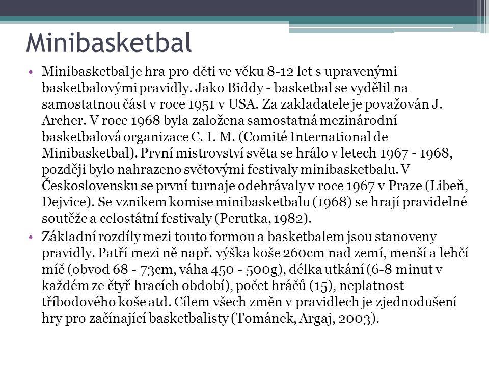 Minibasketbal Minibasketbal je hra pro děti ve věku 8-12 let s upravenými basketbalovými pravidly.