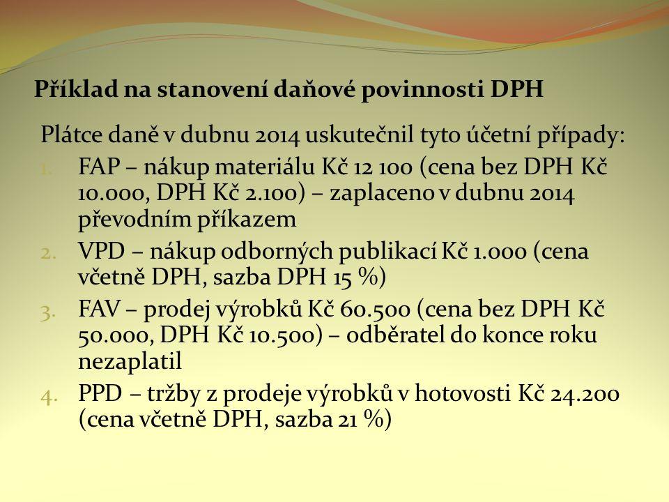 Příklad na stanovení daňové povinnosti DPH Plátce daně v dubnu 2014 uskutečnil tyto účetní případy: 1. FAP – nákup materiálu Kč 12 100 (cena bez DPH K