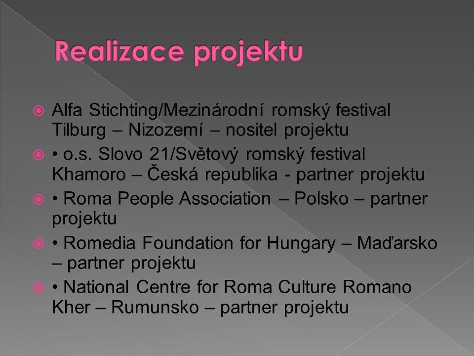  Alfa Stichting/Mezinárodní romský festival Tilburg – Nizozemí – nositel projektu  o.s. Slovo 21/Světový romský festival Khamoro – Česká republika -