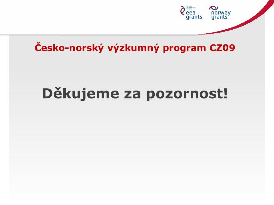 Česko-norský výzkumný program CZ09 Děkujeme za pozornost!