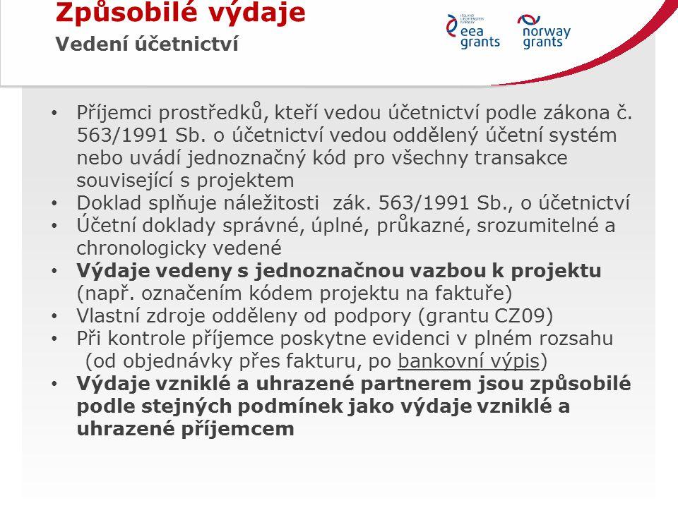Příjemci prostředků, kteří vedou účetnictví podle zákona č.