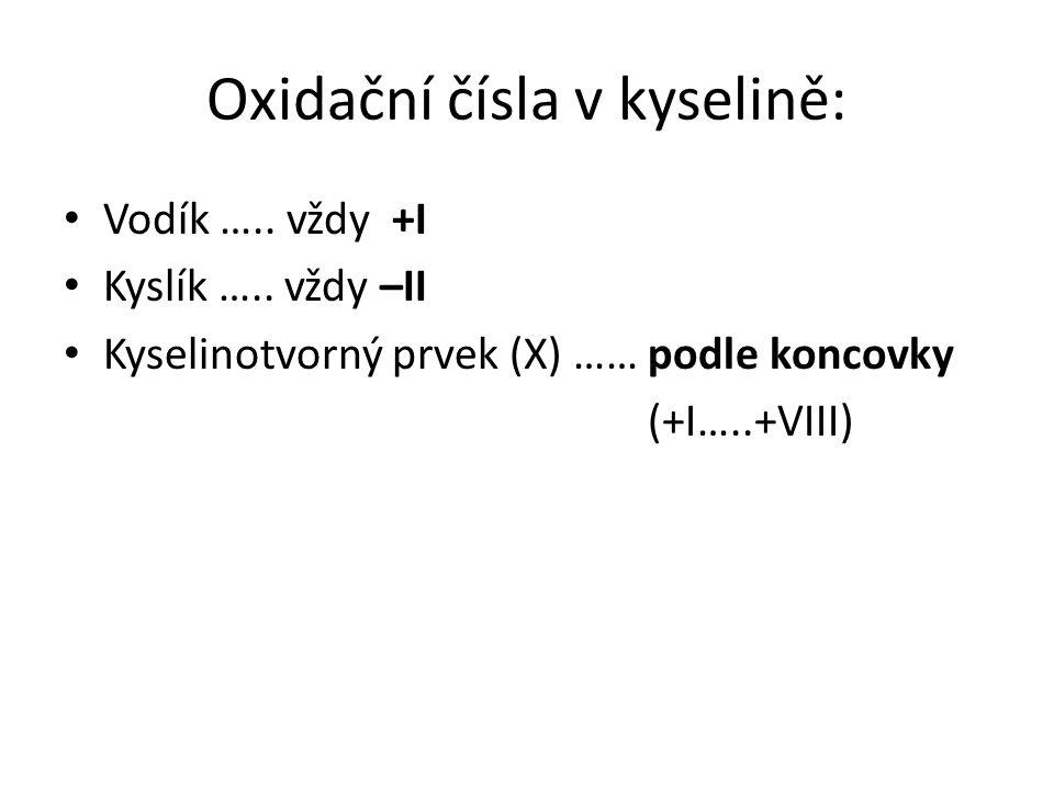 Oxidační čísla v kyselině: Vodík …..vždy +I Kyslík …..