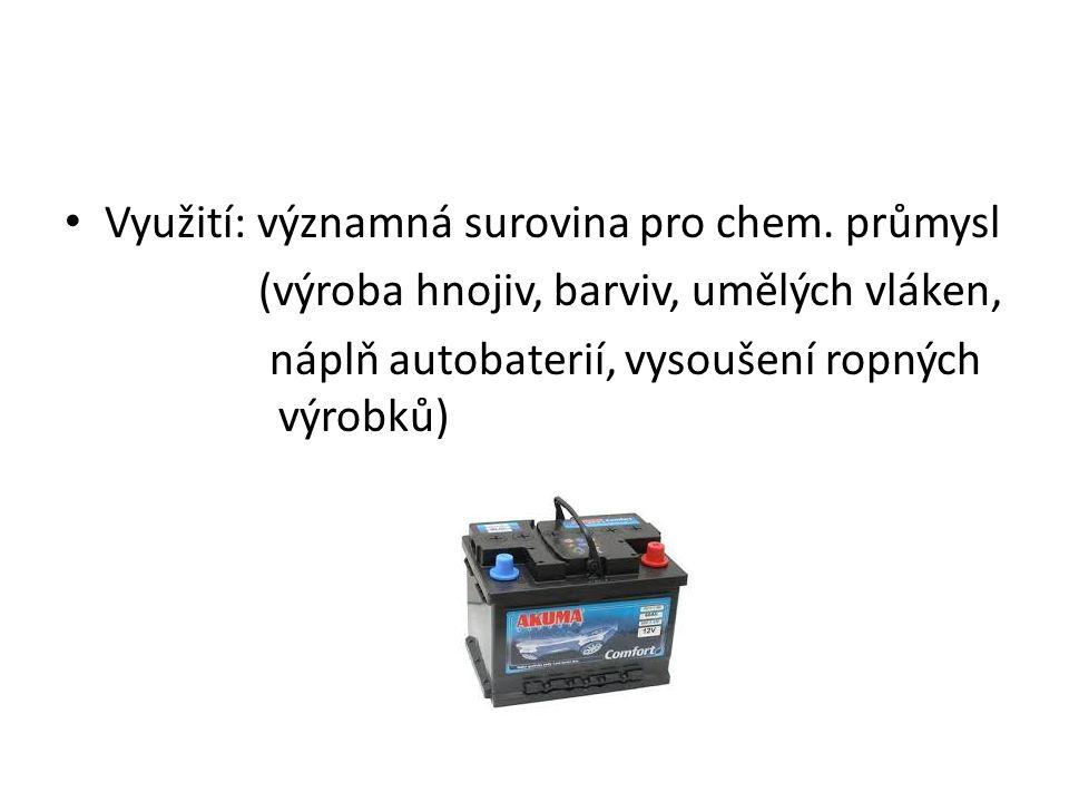 Využití: významná surovina pro chem.