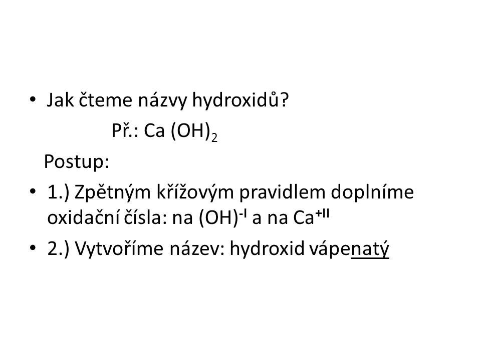 Jak čteme názvy hydroxidů.