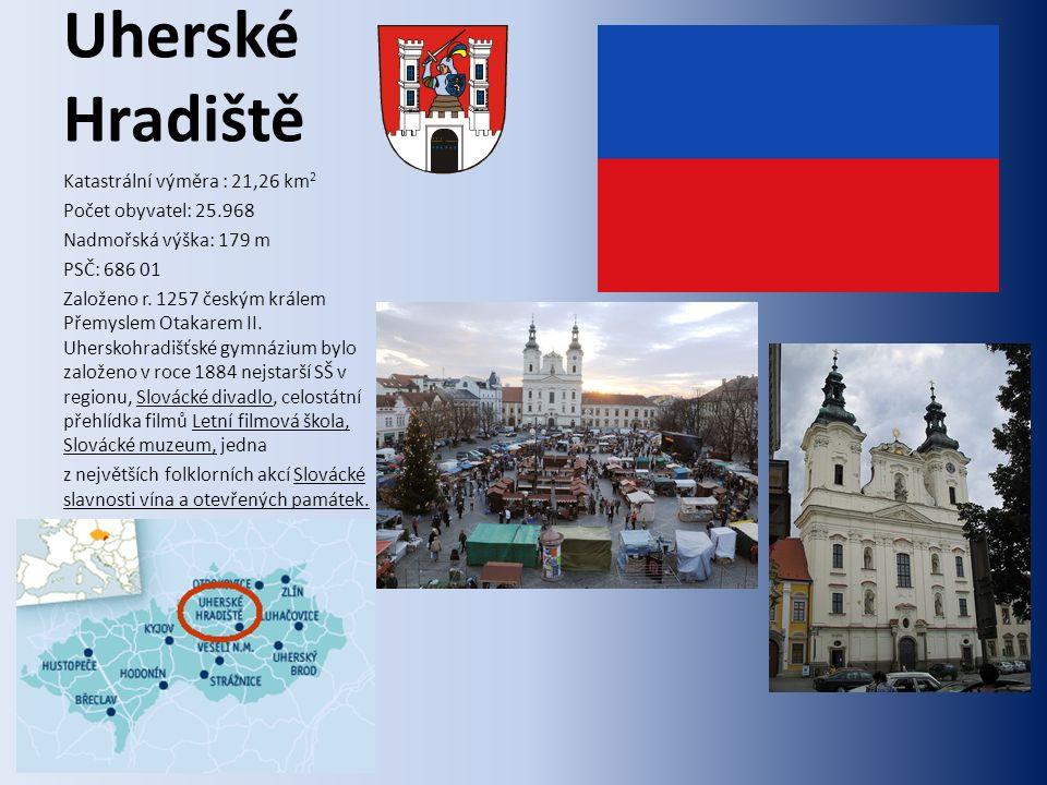 Uherské Hradiště Katastrální výměra : 21,26 km 2 Počet obyvatel: 25.968 Nadmořská výška: 179 m PSČ: 686 01 Založeno r.