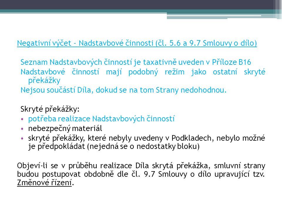 Negativní výčet - Nadstavbové činnosti (čl.