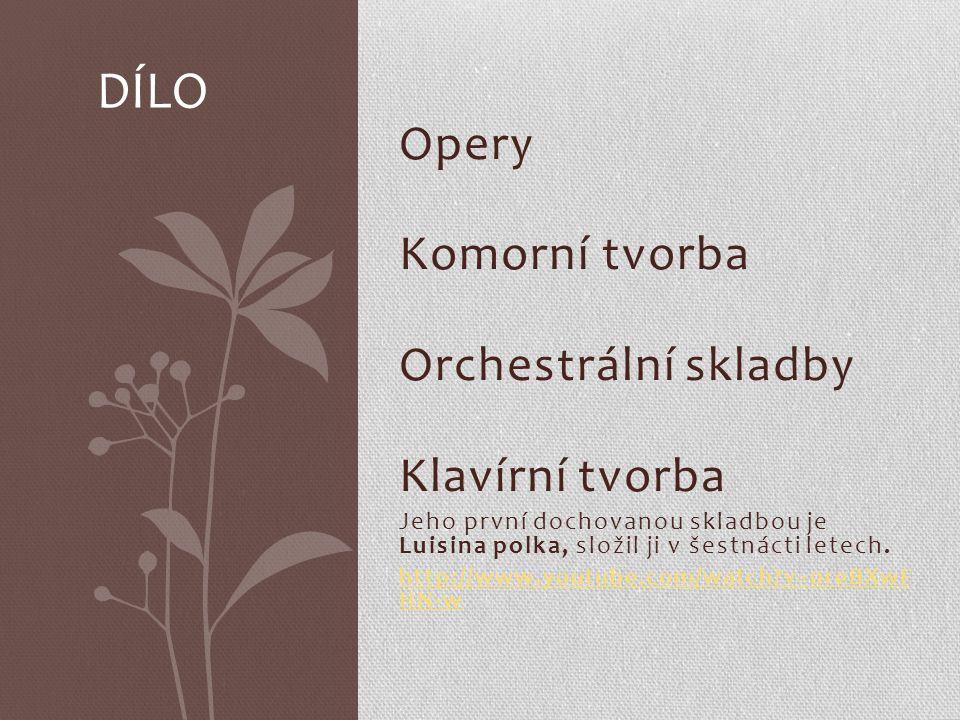 Opery Komorní tvorba Orchestrální skladby Klavírní tvorba Jeho první dochovanou skladbou je Luisina polka, složil ji v šestnácti letech.