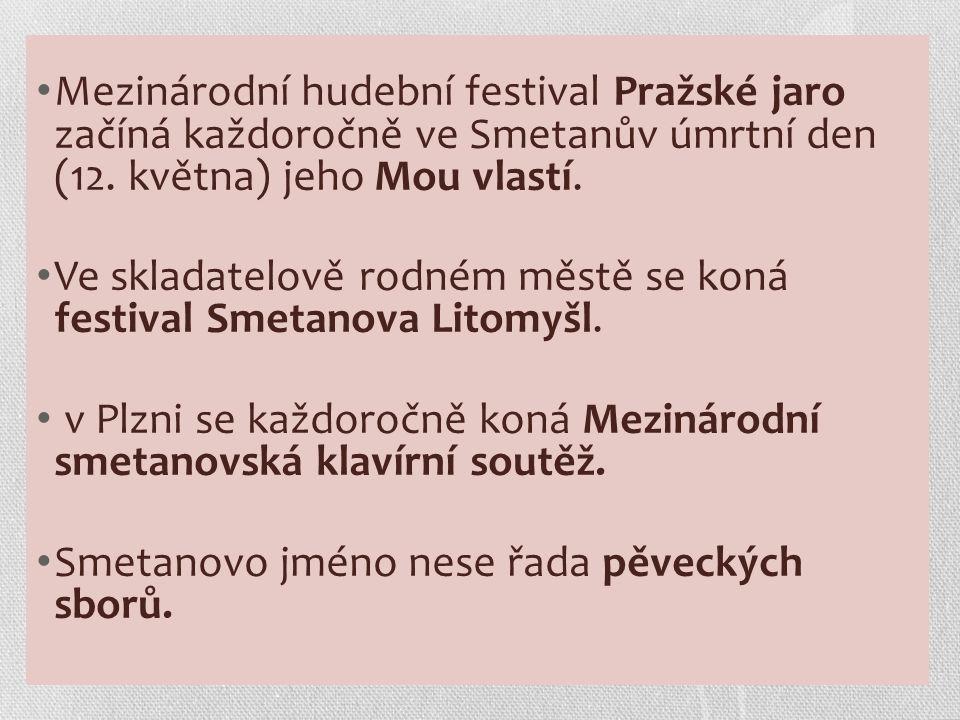 Mezinárodní hudební festival Pražské jaro začíná každoročně ve Smetanův úmrtní den (12.