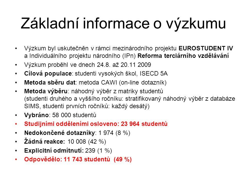 Základní informace o výzkumu Výzkum byl uskutečněn v rámci mezinárodního projektu EUROSTUDENT IV a Individuálního projektu národního (IPn) Reforma terciárního vzdělávání Výzkum proběhl ve dnech 24.8.