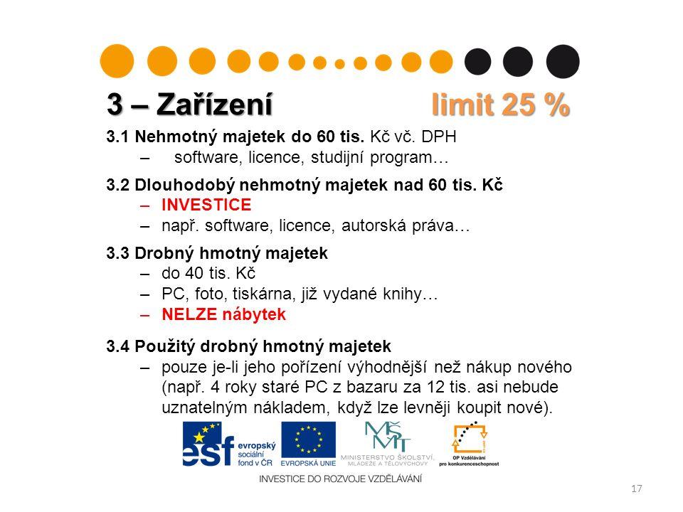 3 – Zařízení limit 25 % 17 3.1 Nehmotný majetek do 60 tis.