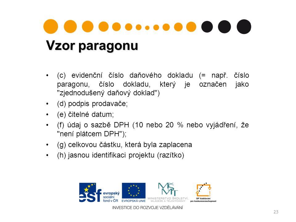 Vzor paragonu 23 (c) evidenční číslo daňového dokladu (= např.
