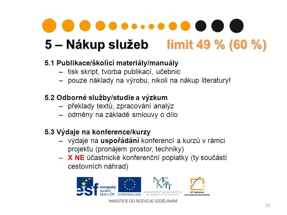 5 – Nákup služeb limit 49 % (60 %) 24 5.1 Publikace/školící materiály/manuály –tisk skript, tvorba publikací, učebnic –pouze náklady na výrobu, nikoli na nákup literatury.