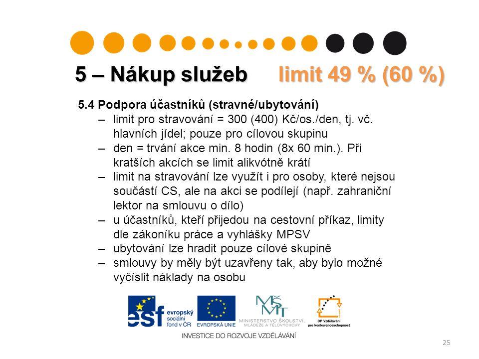25 5.4 Podpora účastníků (stravné/ubytování) –limit pro stravování = 300 (400) Kč/os./den, tj.