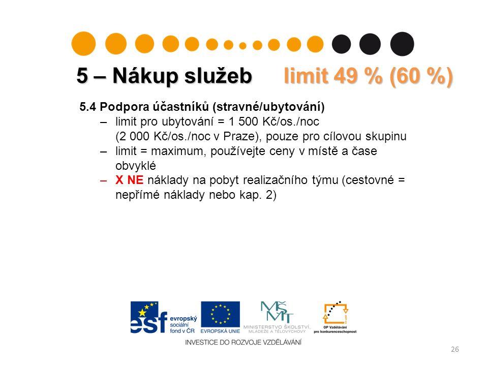 26 5.4 Podpora účastníků (stravné/ubytování) –limit pro ubytování = 1 500 Kč/os./noc (2 000 Kč/os./noc v Praze), pouze pro cílovou skupinu –limit = maximum, používejte ceny v místě a čase obvyklé –X NE náklady na pobyt realizačního týmu (cestovné = nepřímé náklady nebo kap.