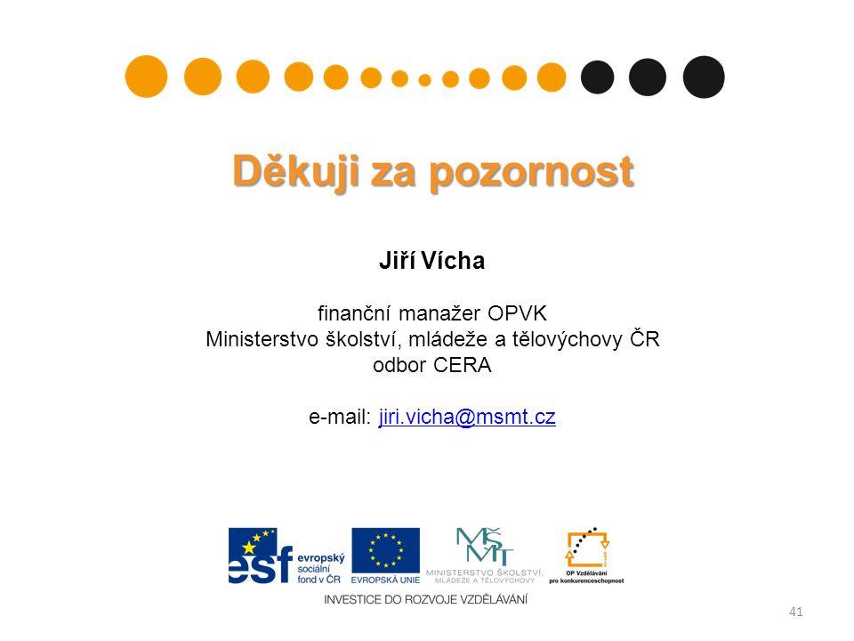 41 Děkuji za pozornost Jiří Vícha finanční manažer OPVK Ministerstvo školství, mládeže a tělovýchovy ČR odbor CERA e-mail: jiri.vicha@msmt.czjiri.vicha@msmt.cz