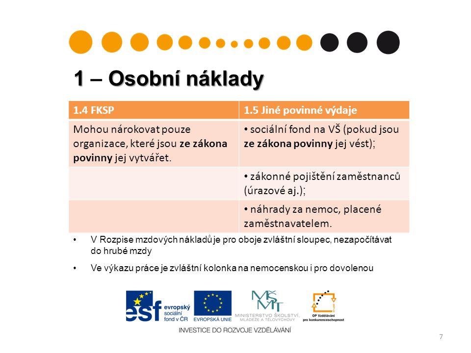 1 Osobní náklady 1 – Osobní náklady 8 přehled výše způsobilých výdajů na pojistné pro rok 2012