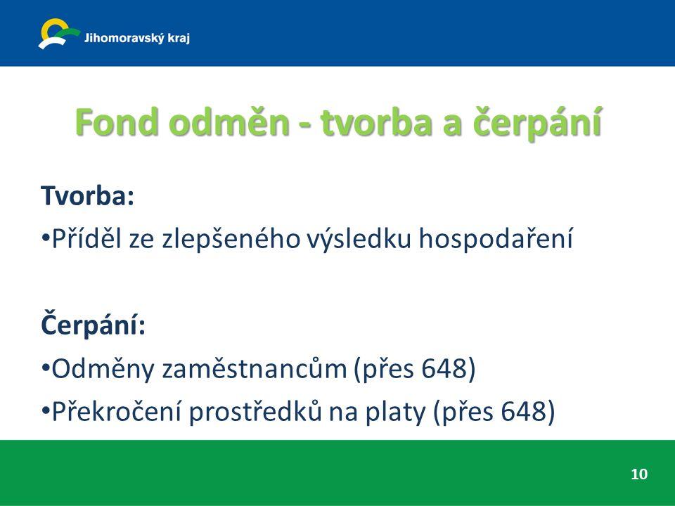 Fond odměn - tvorba a čerpání Tvorba: Příděl ze zlepšeného výsledku hospodaření Čerpání: Odměny zaměstnancům (přes 648) Překročení prostředků na platy (přes 648) 10