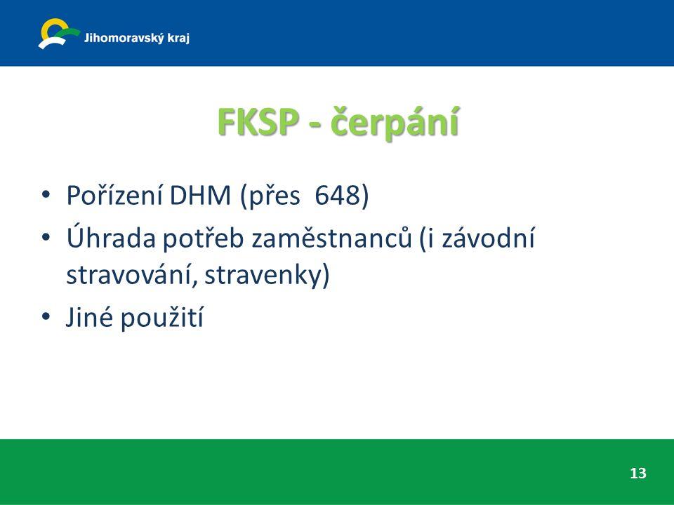 FKSP - čerpání Pořízení DHM (přes 648) Úhrada potřeb zaměstnanců (i závodní stravování, stravenky) Jiné použití 13