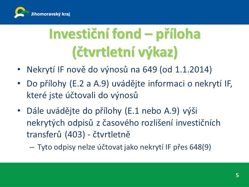 Investiční fond – příloha (čtvrtletní výkaz) Nekrytí IF nově do výnosů na 649 (od 1.1.2014) Do přílohy (E.2 a A.9) uvádějte informaci o nekrytí IF, které jste účtovali do výnosů Dále uvádějte do přílohy (E.1 nebo A.9) výši nekrytých odpisů z časového rozlišení investičních transferů (403) - čtvrtletně – Tyto odpisy nelze účtovat jako nekrytí IF přes 648(9) 5