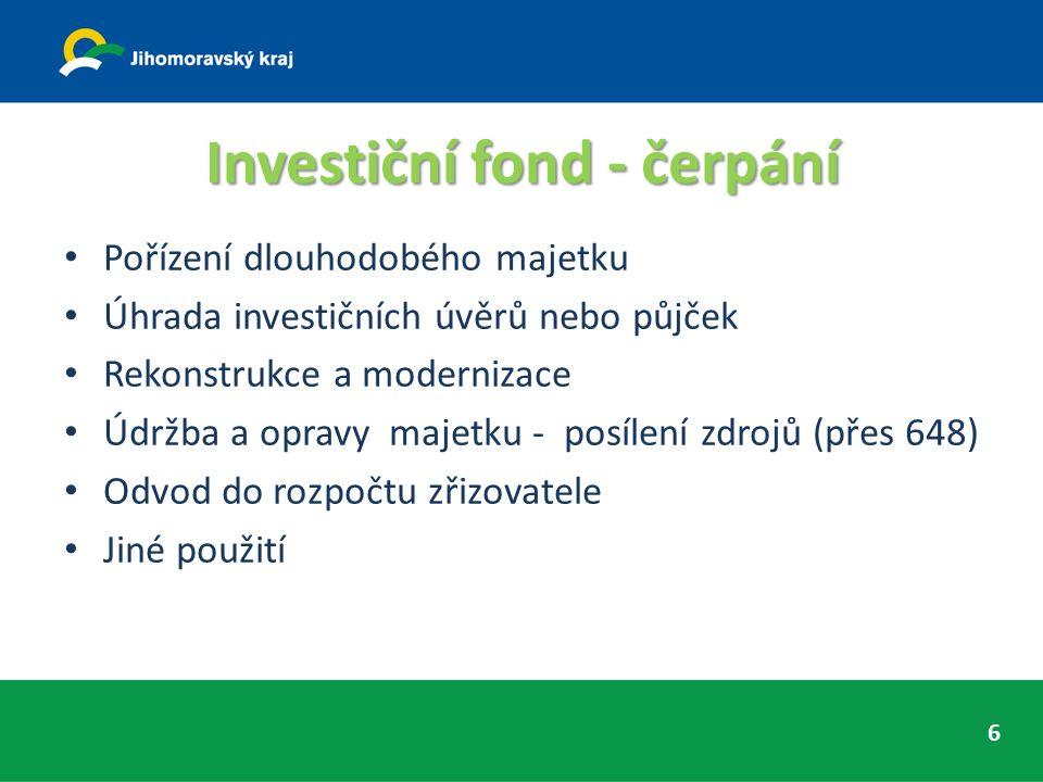 Investiční fond - čerpání Pořízení dlouhodobého majetku Úhrada investičních úvěrů nebo půjček Rekonstrukce a modernizace Údržba a opravy majetku - posílení zdrojů (přes 648) Odvod do rozpočtu zřizovatele Jiné použití 6