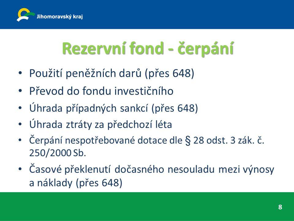 Rezervní fond - čerpání Použití peněžních darů (přes 648) Převod do fondu investičního Úhrada případných sankcí (přes 648) Úhrada ztráty za předchozí léta Čerpání nespotřebované dotace dle § 28 odst.