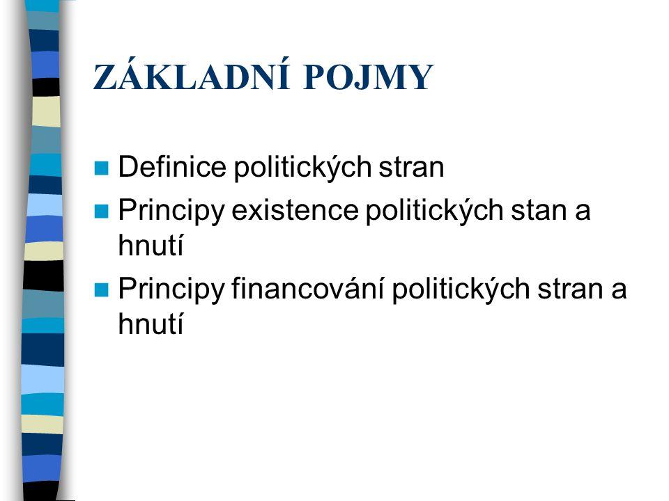 ZÁKLADNÍ POJMY Definice politických stran Principy existence politických stan a hnutí Principy financování politických stran a hnutí