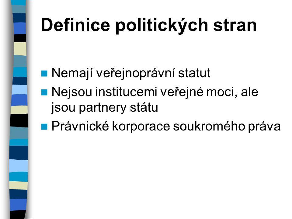 Definice politických stran Nemají veřejnoprávní statut Nejsou institucemi veřejné moci, ale jsou partnery státu Právnické korporace soukromého práva