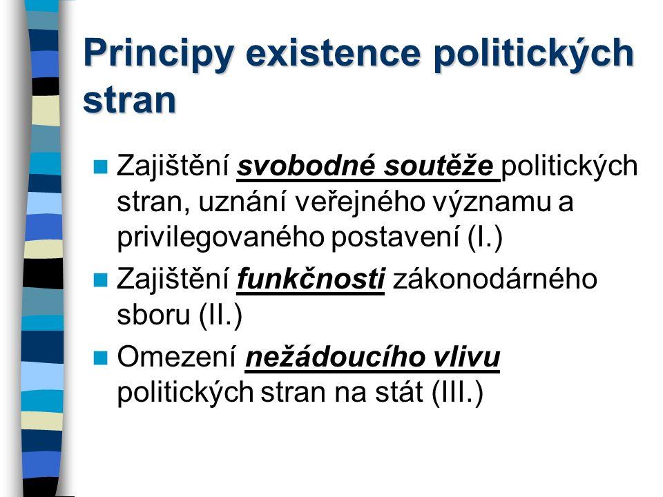 Principy existence politických stran Zajištění svobodné soutěže politických stran, uznání veřejného významu a privilegovaného postavení (I.) Zajištění funkčnosti zákonodárného sboru (II.) Omezení nežádoucího vlivu politických stran na stát (III.)
