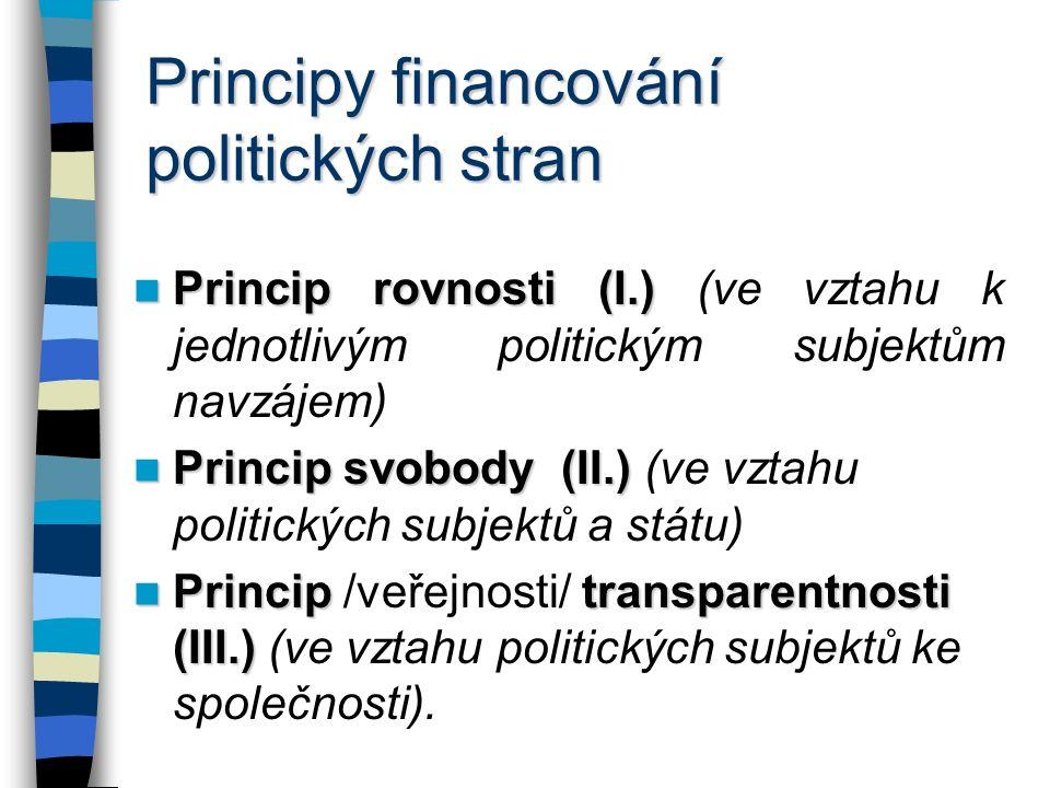 Principy financování politických stran Principrovnosti (I.) Princip rovnosti (I.) (ve vztahu k jednotlivým politickým subjektům navzájem) Principsvobody (II.) Princip svobody (II.) (ve vztahu politických subjektů a státu) Principtransparentnosti (III.) Princip /veřejnosti/ transparentnosti (III.) (ve vztahu politických subjektů ke společnosti).