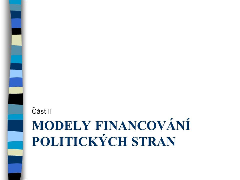 MODELY FINANCOVÁNÍ POLITICKÝCH STRAN Část II