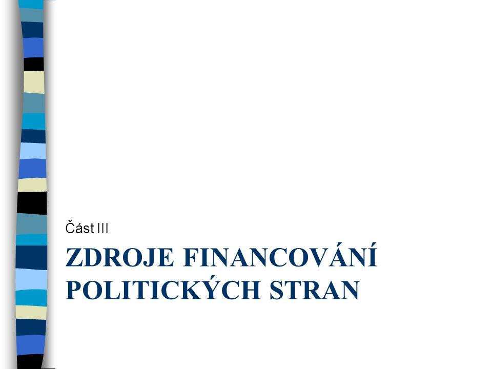 ZDROJE FINANCOVÁNÍ POLITICKÝCH STRAN Část III