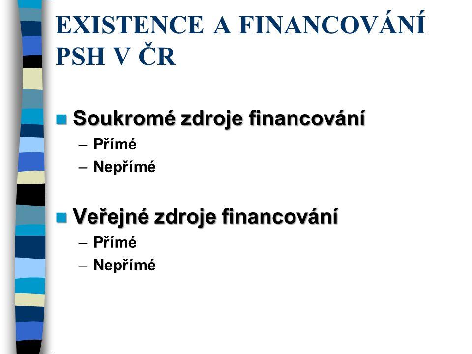 EXISTENCE A FINANCOVÁNÍ PSH V ČR Soukromé zdroje financování Soukromé zdroje financování –Přímé –Nepřímé Veřejné zdroje financování Veřejné zdroje financování –Přímé –Nepřímé