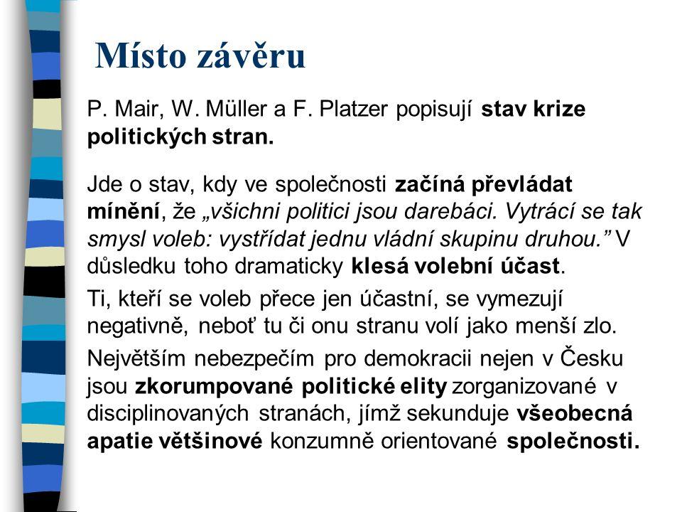 Místo závěru P. Mair, W. Müller a F. Platzer popisují stav krize politických stran.