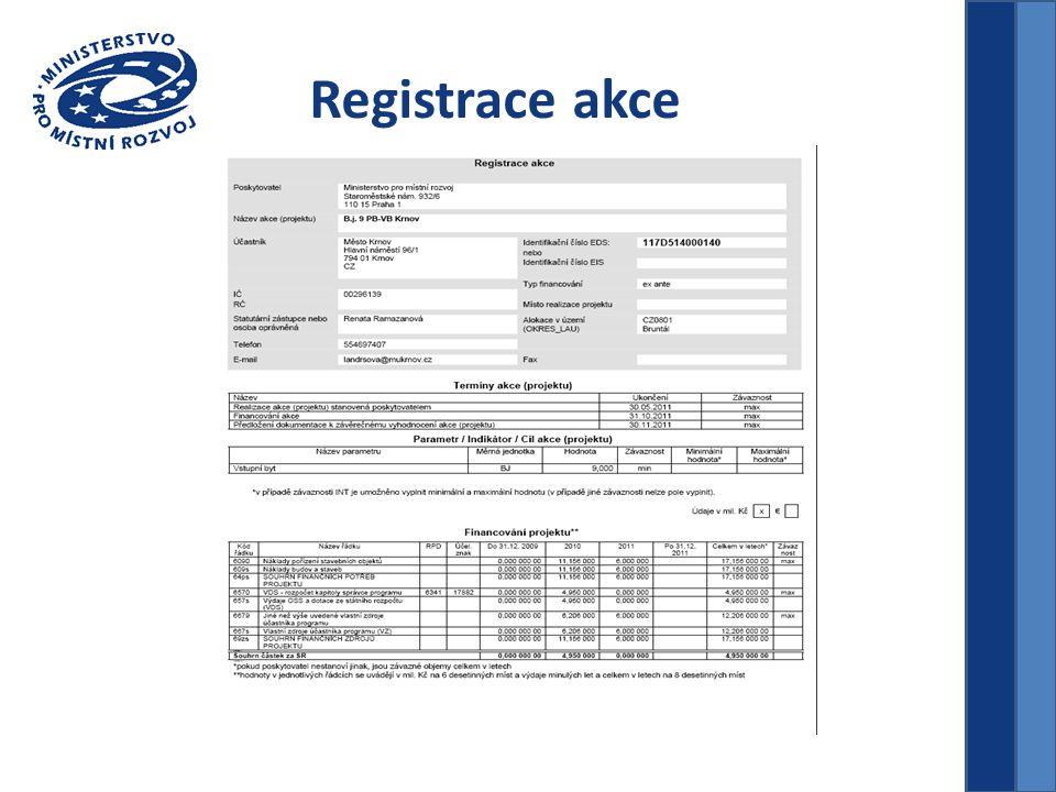 Registrace akce