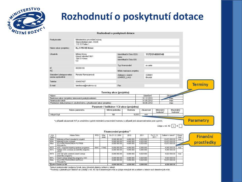 Rozhodnutí o poskytnutí dotace Termíny Finanční prostředky Parametry
