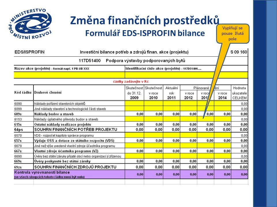 Změna finančních prostředků Formulář EDS-ISPROFIN bilance Vyplňují se pouze žlutá pole