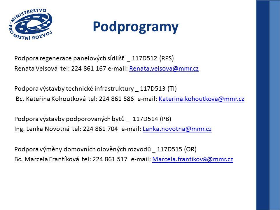 Podprogramy Podpora regenerace panelových sídlišť _ 117D512 (RPS) Renata Veisová tel: 224 861 167 e-mail: Renata.veisova@mmr.czRenata.veisova@mmr.cz Podpora výstavby technické infrastruktury _ 117D513 (TI) Bc.