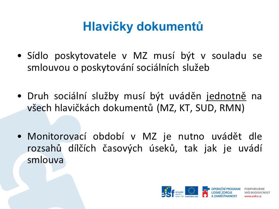 Hlavičky dokumentů Sídlo poskytovatele v MZ musí být v souladu se smlouvou o poskytování sociálních služeb Druh sociální služby musí být uváděn jednot
