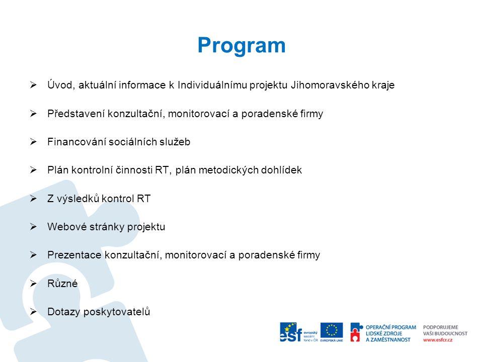 Program  Úvod, aktuální informace k Individuálnímu projektu Jihomoravského kraje  Představení konzultační, monitorovací a poradenské firmy  Financo