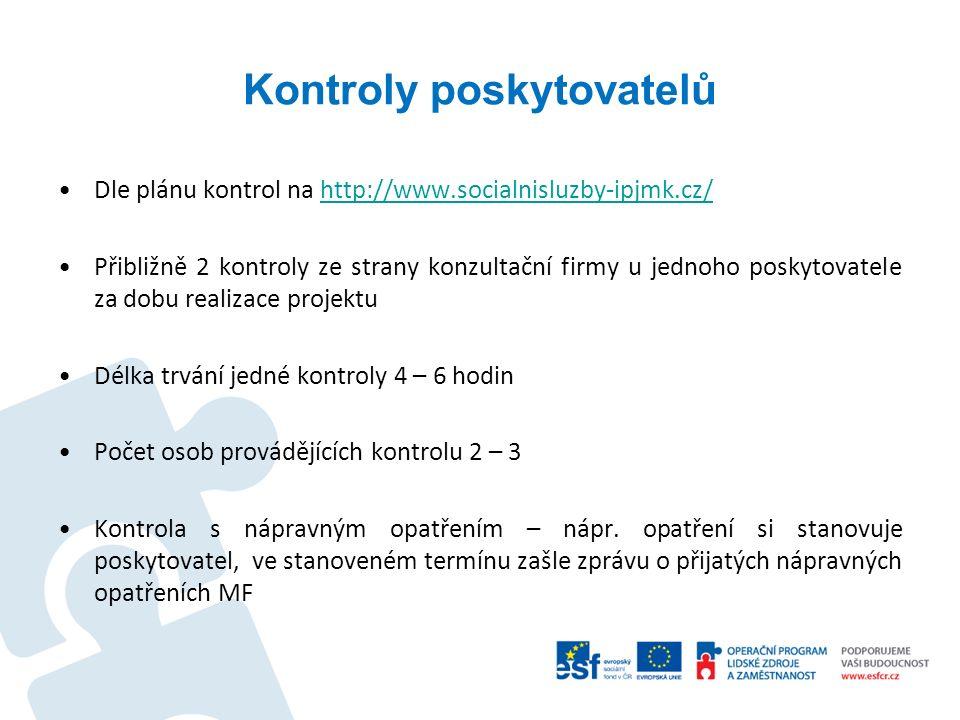 Kontroly poskytovatelů Dle plánu kontrol na http://www.socialnisluzby-ipjmk.cz/http://www.socialnisluzby-ipjmk.cz/ Přibližně 2 kontroly ze strany konz