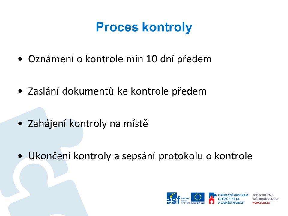 Proces kontroly Oznámení o kontrole min 10 dní předem Zaslání dokumentů ke kontrole předem Zahájení kontroly na místě Ukončení kontroly a sepsání prot