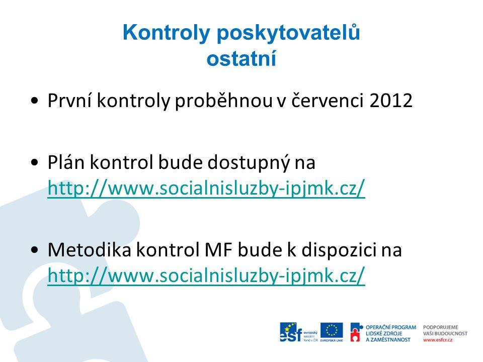 Kontroly poskytovatelů ostatní První kontroly proběhnou v červenci 2012 Plán kontrol bude dostupný na http://www.socialnisluzby-ipjmk.cz/ http://www.s