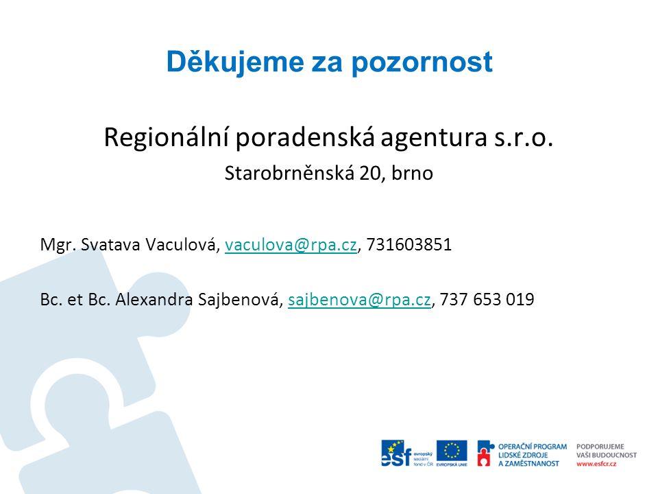 Děkujeme za pozornost Regionální poradenská agentura s.r.o. Starobrněnská 20, brno Mgr. Svatava Vaculová, vaculova@rpa.cz, 731603851vaculova@rpa.cz Bc