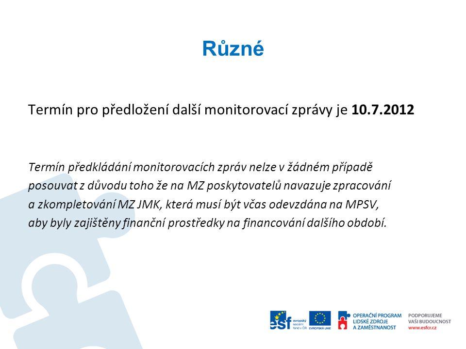 Různé Termín pro předložení další monitorovací zprávy je 10.7.2012 Termín předkládání monitorovacích zpráv nelze v žádném případě posouvat z důvodu to