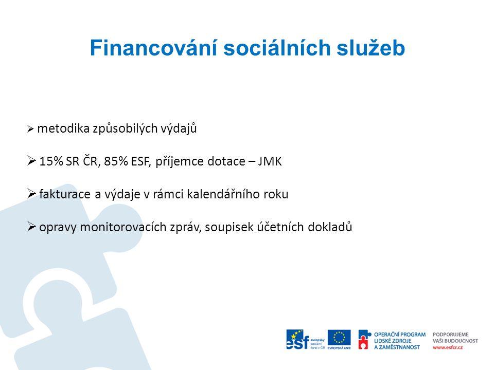 Financování sociálních služeb  metodika způsobilých výdajů  15% SR ČR, 85% ESF, příjemce dotace – JMK  fakturace a výdaje v rámci kalendářního roku