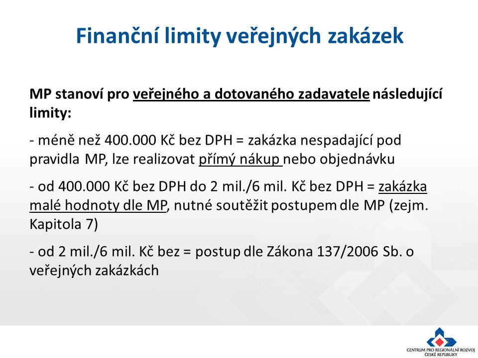 5 MP stanoví pro veřejného a dotovaného zadavatele následující limity: - méně než 400.000 Kč bez DPH = zakázka nespadající pod pravidla MP, lze realizovat přímý nákup nebo objednávku - od 400.000 Kč bez DPH do 2 mil./6 mil.
