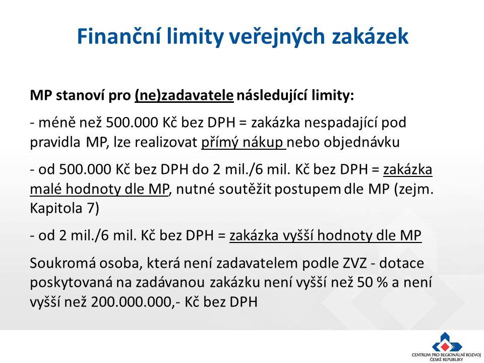6 MP stanoví pro (ne)zadavatele následující limity: - méně než 500.000 Kč bez DPH = zakázka nespadající pod pravidla MP, lze realizovat přímý nákup nebo objednávku - od 500.000 Kč bez DPH do 2 mil./6 mil.