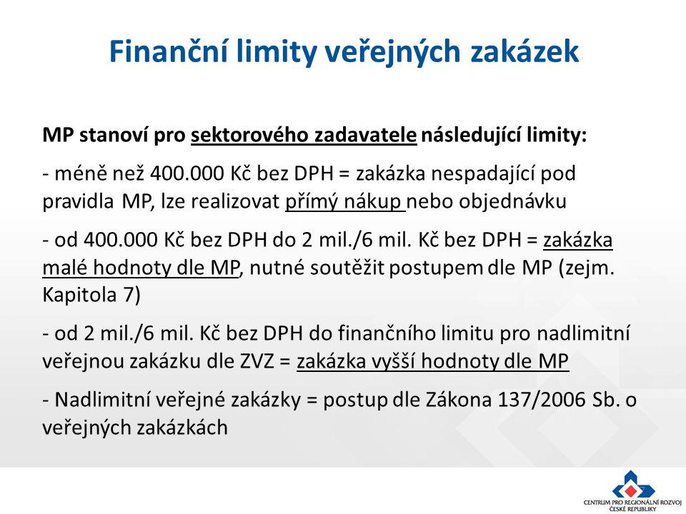 7 MP stanoví pro sektorového zadavatele následující limity: - méně než 400.000 Kč bez DPH = zakázka nespadající pod pravidla MP, lze realizovat přímý nákup nebo objednávku - od 400.000 Kč bez DPH do 2 mil./6 mil.